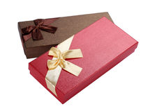 There bow Gift box. On white Stock Image
