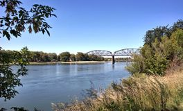 Bismarck missouri river bridge attraction. There is bridge on Missouri river in capital of North Dakota Bismarck , United States. One of the attractions for stock photo