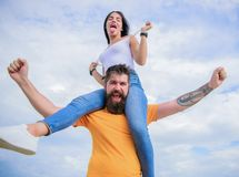 There is chemistry between them. Bearded man piggybacking his girlfriend just for fun. Hipster giving woman a. There is chemistry between them. Bearded men royalty free stock images