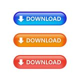There colors Download Button. Illustration, data Royalty Free Stock Photography