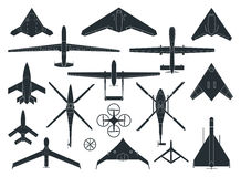 There is drones vector illustration in dark colors. stock illustration