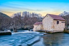 Mills in National park Krka. There are few mills in national park Krka, this is one of them. they are located almost always on the waterfall. Photo is taken at Royalty Free Stock Photography
