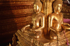 There are four small statues of Buddha in the temple Phumin Nan, Royalty Free Stock Photography