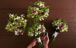 There are four wedding bouquets Stock Image