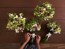 There are four wedding bouquets Stock Photos