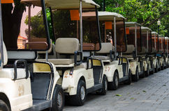 There are golf car parking Royalty Free Stock Photos