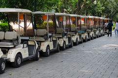 There are golf car parking Royalty Free Stock Images