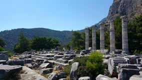 The Temple of Athena Polias, Priene Ancient City. There are Hellenistic architecture examples in Priene. It is one of the best examples of where Hippodamus grid Royalty Free Stock Image