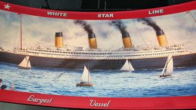 Titanic white star line transatlantic shipping company. There is historic advertising of White Star Line shipping company , which was owner of Titanic, which On royalty free stock image