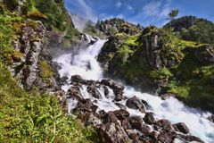 There are hundreds of beautiful waterfalls in Scandinavia. One There are hundreds of beautiful waterfalls in Scandinavia royalty free stock photo