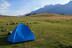 There ia a tent in the mountains Royalty Free Stock Images