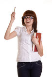 There is an idea. The girl with a pencil in hands on a white background Stock Image