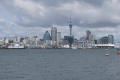 Auckland entrance by boat - New Zealand stock photography