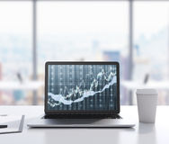There are a laptop with forex chart on the screen, legal pad and a cup of coffee on the table. 3D rendering. Modern office with pa Stock Photos