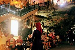 There are a lot of visitors in Damlatas Cave Alanya, Turkey Stock Photos