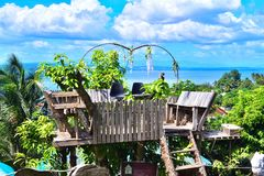Lovely Garden Looking Big Sea in Philippines royalty free stock photos