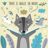 There is magic in books awesome card with cute wolf. Fantasy creatures flying out of an open book. Vector illustration vector illustration