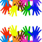 There are many bright hands on a white background Royalty Free Stock Photos
