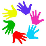 There are many bright hands on a white background Stock Photography