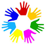 There are many bright hands on a white background Royalty Free Stock Photography