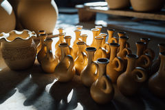 There are many clay pots in the floor Royalty Free Stock Images
