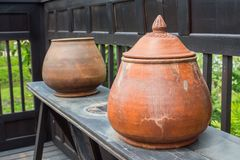 There are many clay pots for planting trees Royalty Free Stock Photos