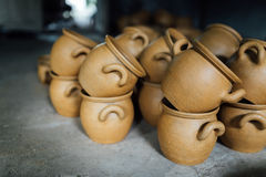 There are many clay pots Stock Images