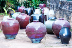 There are many clay pots in the workshop Royalty Free Stock Image
