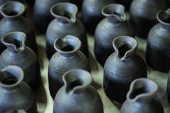 There are many clay pots in the workshop Stock Photography