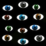 There are many different eyes  on a black background Stock Images