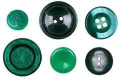 There are many different, new and old green buttons isolated on Royalty Free Stock Image