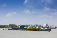 There of many giant tanker which has been waiting at Sadarghat, Chittagong, Bangladesh. Karnafuli River Sadarghat areas, Chittagong, Bagladesh. Chittagong is Royalty Free Stock Images