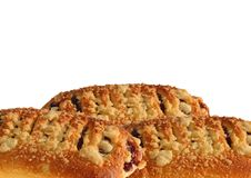 Bun with jam and crumble. Royalty Free Stock Photography