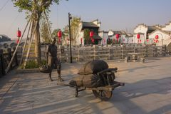 The body sculptures in the town of kuizi. There are many human sculptures in the ancient town of wuhu, anhui Royalty Free Stock Photo