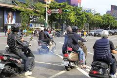 There are many motorcycles on taipei street Stock Image