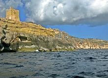 Tower to Blue Grotto. There are many natural wonders in Malta and many of them are accessed from the sea. One of these places is Blue Grotto, a natural grotto stock photos