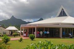 Beautiful building of Saint Joseph`s Catholic Cathedral at Avarua, Cook Islands stock photos