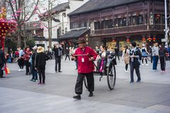 Huang baoche of nanjing fu temple in jiangsu province. There are many rickshaw operators in nanjing fumiao scenic spot in jiangsu province Stock Images
