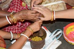 """Traditional Bengali wedding Rituals. There are many rituals of Bengali Wadding in India. It may be different on various locations. But Basic rituals like """"Puja Stock Image"""