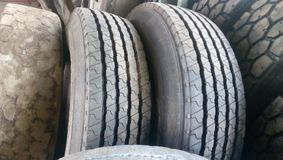Different Tires Patterns in a row royalty free stock photo