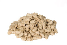 There are many shredded brown wood pellets Royalty Free Stock Images