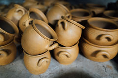 There are many terracotta clay pots Royalty Free Stock Photography