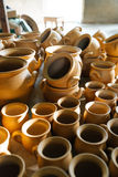 There are many  terracotta pots in the floor Royalty Free Stock Photography