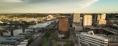 Aerial View of Downtown Tacoma Washington and The Port Waterfron Stock Images