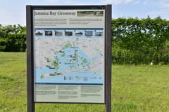 Getaway jamaica bay new york greenway activities marker. There is marker of Getaway Jamaica Bay Greenway of New York with directions, map , environmental stock image