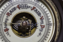 There may be trouble ahead. Slightly simplified image of a vintage weather barometer forecasting stormy weather ahead stock image