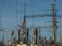 Switchgear 110kV at high voltage power substation royalty free stock photos