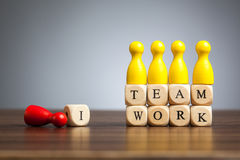 There is no I in teamwork, concept toy pawn figures Royalty Free Stock Photo