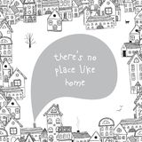 There is no place like home quote with buildings. Can be used like card Stock Image
