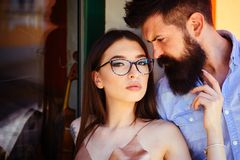 There are no rules in fashion. Couple of lovers with fashion style. woman and bearded man in love relations royalty free stock photos
